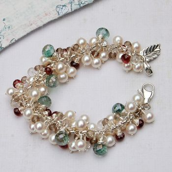 White Pearl And Mixed Gemstone Cluster Bracelet