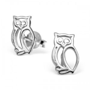 Cut Out Owl Earrings In Sterling Silver - earrings