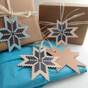 Christmas Star Recycled Gift Tags Set Of Five