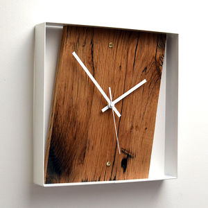 Reclaimed French Oak Wall Clock - living room