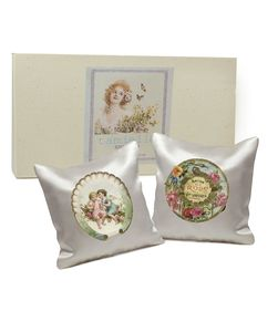 Set Of Two Silk Lavender Cushions: Vintage Soaps - decorative accessories