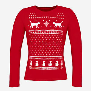 Womens Cats Christmas Jumper Style Long Sleeve Top