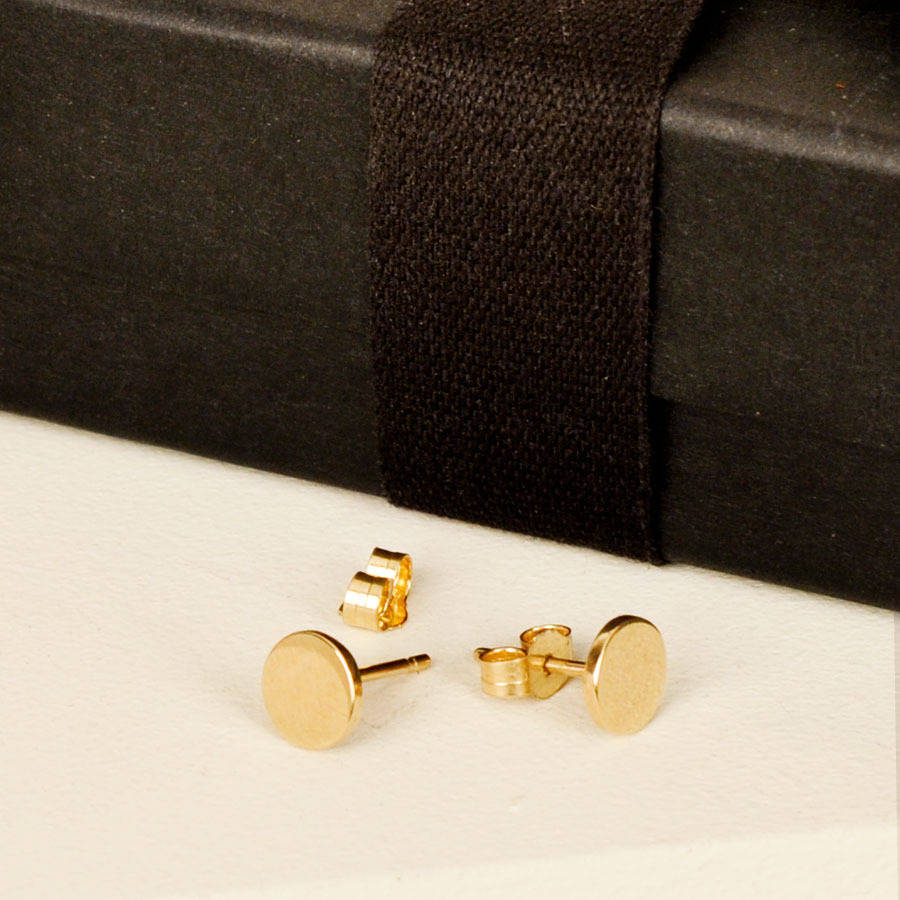 the flat earrings stud trout discs gold disc products
