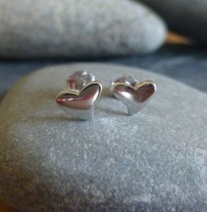 Tiny Silver Heart Studs - earrings