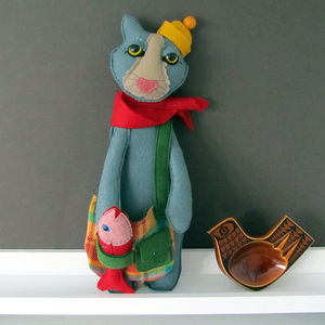 Handmade Cat Felt Art Doll
