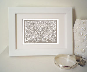 Miniature Adam And Eve Heart Print