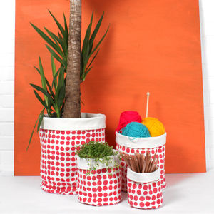 Spot Print Canvas Storage Pots