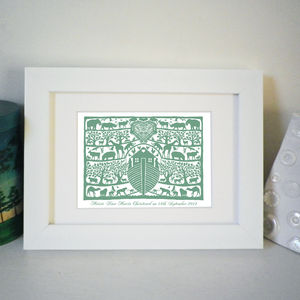 Personalised Miniature Noah's Ark Christening Print - children's room