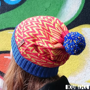 Royal Zig Zag Bobble Hat