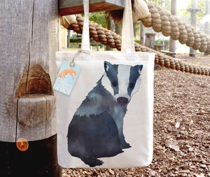 Badger Illustration Tote Bag - womens