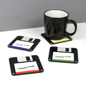 Pack Of Four Geeky Floppy Disc Coasters - dining room