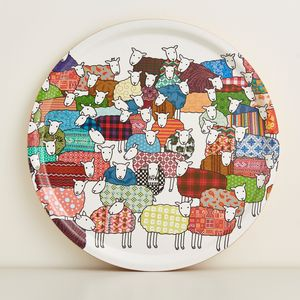 Round Colourful Sheep Tray - trays