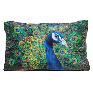 Peacock Cushion - bedroom