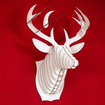 Bucky The Deer White Cardboard Trophy Head