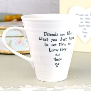 East Of India 'Friends Are Like Stars' Boxed Mug - new in home