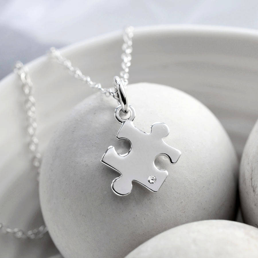 puzzle set and childrens jewellery d mother for child diamond silver sterling necklace