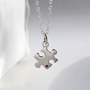 Silver And Ruby Jigsaw Puzzle Necklace