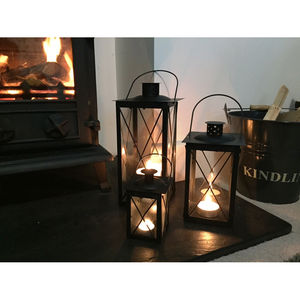 Set Of Three Cavendish Candle Lanterns In Black - lights & lanterns