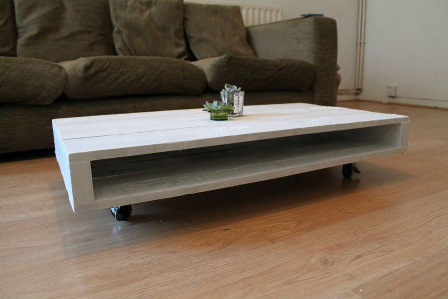 39 on wheels 39 wood coffee table by gas air studios for Coffee tables on wheels