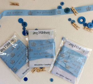 Blue 'My Prince' Crown Gift Ribbon. 2m