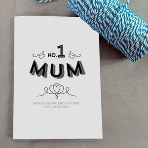 Number One Mum Personalised Card - cards & wrap