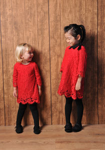 Girl's Lace Dress With Detachable Collar - for children