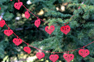 Hand Crocheted Heart Garland - bunting & garlands