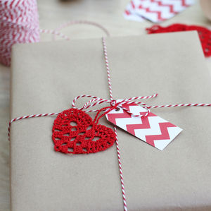 Handmade Crocheted Heart Tag - cards & wrap