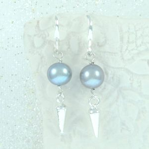 Spike Sterling Silver Pearl Earrings - earrings