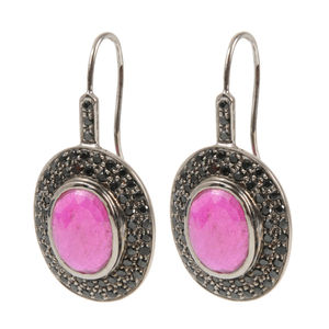 Rosecut Ruby And Malachite Gemstone Drop Earrings - earrings