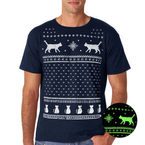 Mens Glow In The Dark Christmas Cats T Shirt