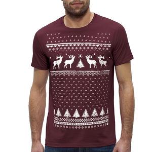 Mens Organic Christmas Jumper Style Reindeer T Shirt