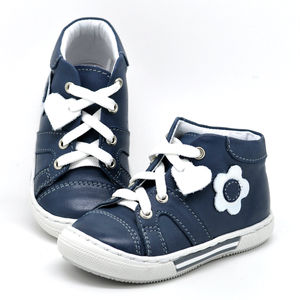 Leather Lace Up Trainers With Flower Design