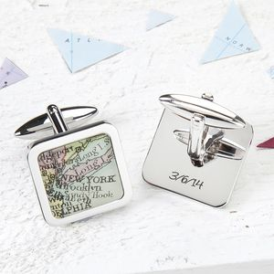 Map Personalised Sterling Silver Cufflinks Square