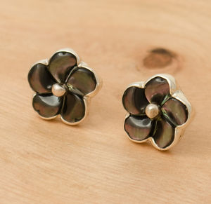 Black Mother Of Pearl Silver Flower Stud Earrings