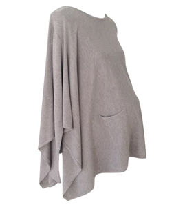 Cashmere Blend Poncho With Sleeves - women's fashion