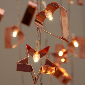 Copper Cookie Cutter String Lights - christmas lighting