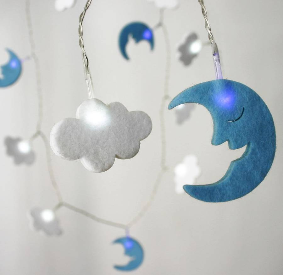 Battery Felt Cloud And Moon String Lights By All Things Brighton - Boys fairy lights for bedroom