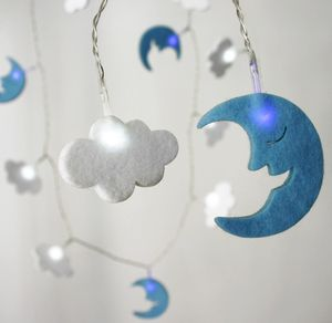 Battery Felt Cloud And Moon String Lights - children's room