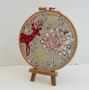 Let It Snow, Hand Embroidered Winter Orniment - new in home