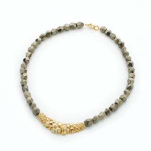 Pyrite Short Textured Necklace - women's jewellery