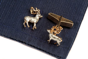 Stag Cufflinks In Gold And Silver