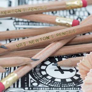 Personalised Natural Wood Graphite Pencils - stocking fillers for babies & children