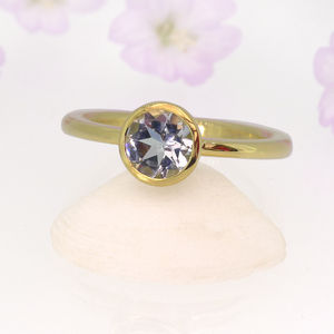 Aquamarine Solitaire Ring In 18ct Yellow Gold - march birthstone
