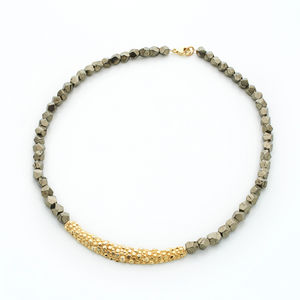 Pyrite Long Textured Necklace