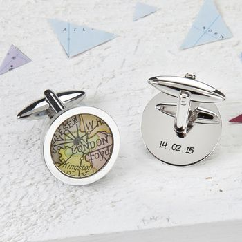 Map Personalised Cufflinks Circle