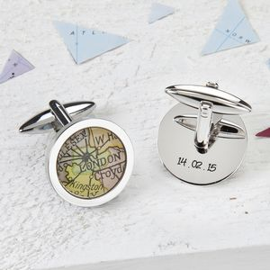 Map Personalised Cufflinks Circle - gifts for travel-lovers