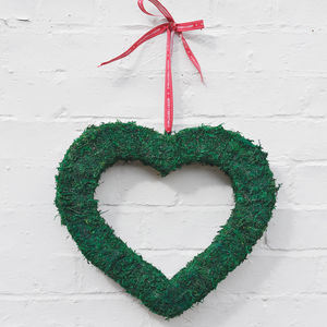 Large Real Moss Christmas Heart Wreath - art & decorations