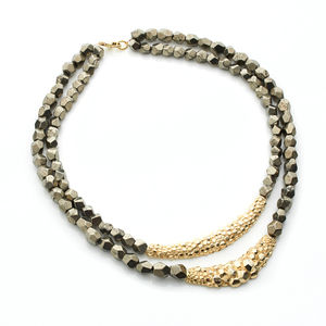 Double Stranded Pyrite Textured Designer Necklace