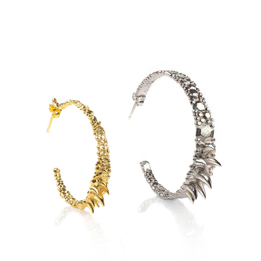 Size Comparison Between The Medium And Large Textured Hoop Earrings